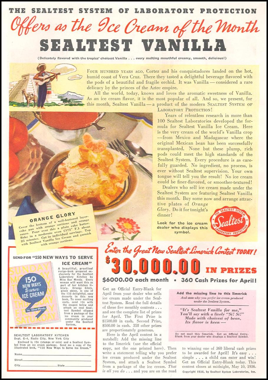 SEALTEST ICE CREAM GOOD HOUSEKEEPING 04/01/1936