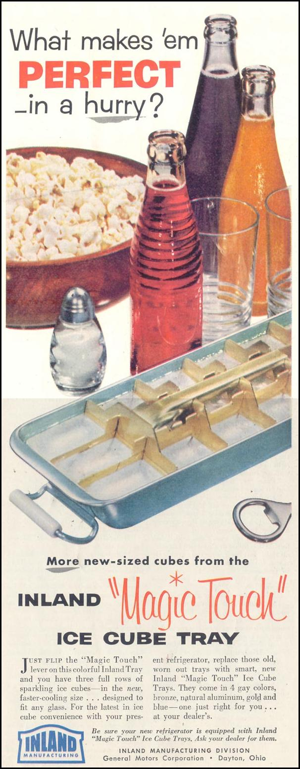 INLAND 'MAGIC TOUCH' ICE CUBE TRAYS SATURDAY EVENING POST 03/26/1955 p. 140