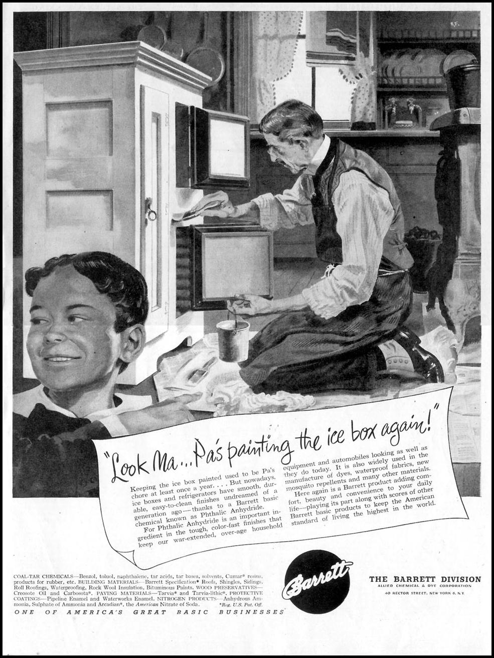 BARRETT COAL-TAR CHEMICALS SATURDAY EVENING POST 10/06/1945 p. 123