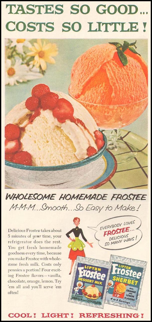 LIPTON FROSTEE DESERT MIX LADIES' HOME JOURNAL 07/01/1954 p. 66