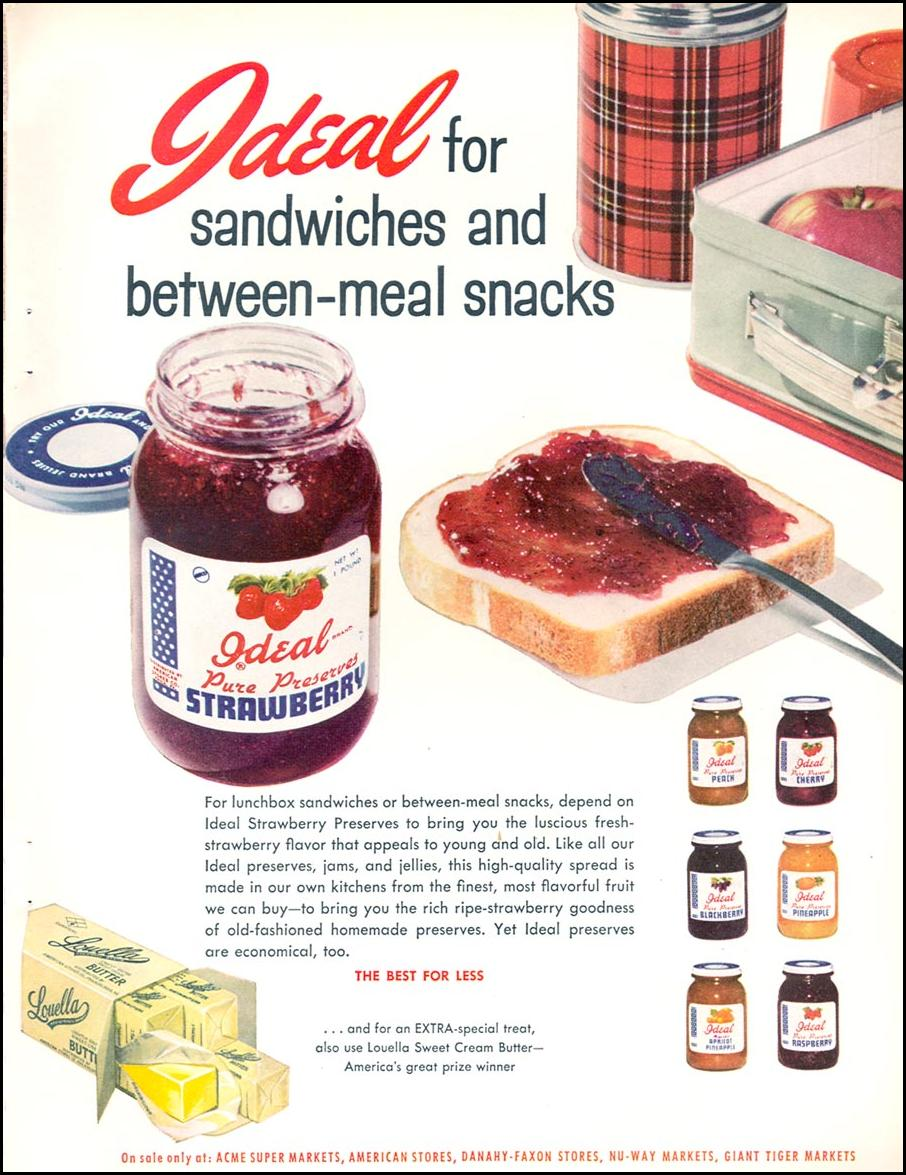 IDEAL BRAND STRAWBERRY PRESERVES FAMILY CIRCLE 02/01/1956