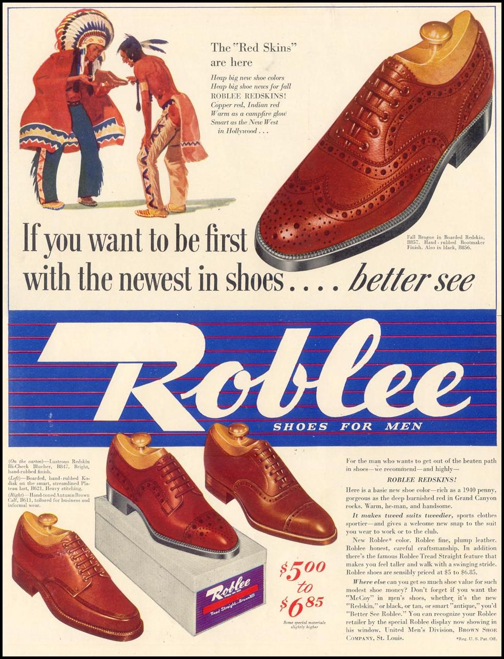 ROBLEE SHOES FOR MEN LIFE 09/30/1940