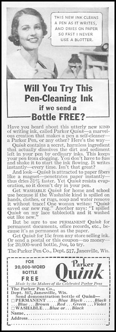 PARKER QUINK INK GOOD HOUSEKEEPING 06/01/1935 p. 186