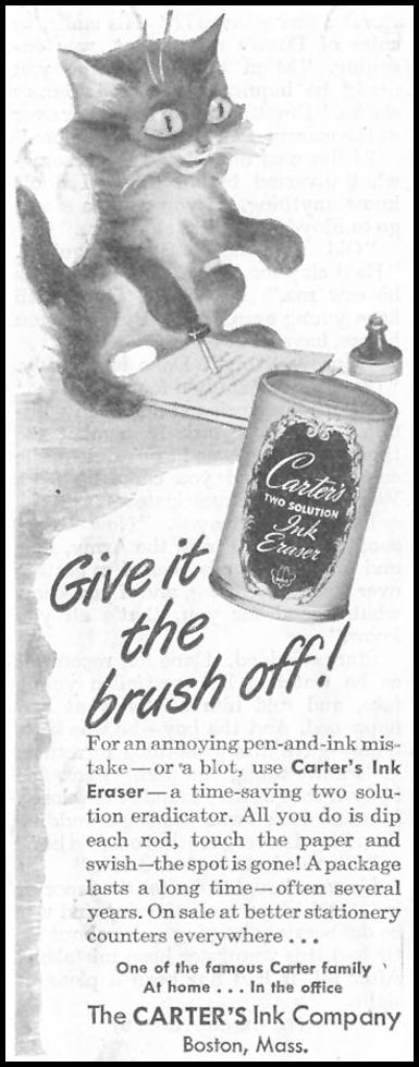CARTER'S INK ERASER SATURDAY EVENING POST 10/06/1945 p. 79