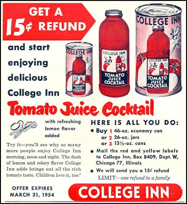 COLLEGE INN TOMATO JUICE COCKTAIL WOMAN'S DAY 02/01/1954 p. 156