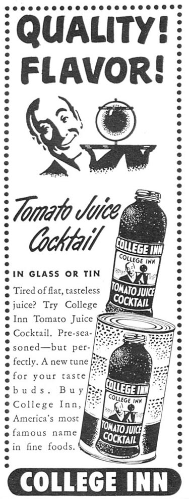 COLLEGE INN TOMATO JUICE COCKTAIL WOMAN'S DAY 04/01/1949 p. 122