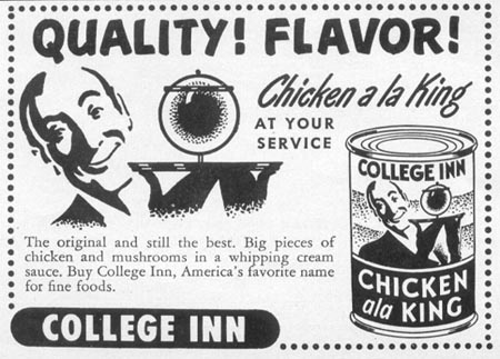COLLEGE INN CHICKEN ALA KING WOMAN'S DAY 10/01/1949 p. 136