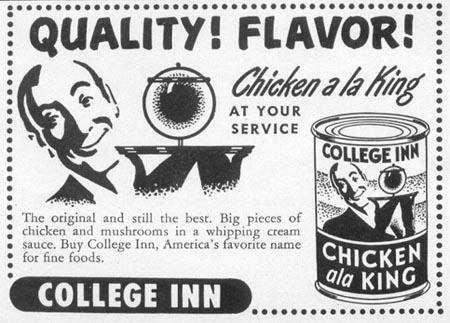 COLLEGE INN CHICKEN ALA KING WOMAN'S DAY 10/01/1949 p. 136