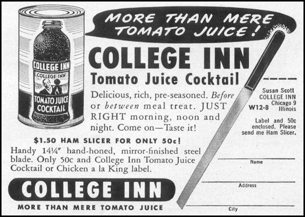 COLLEGE INN TOMATO JUICE COCKTAIL WOMAN'S DAY 12/01/1948 p. 107
