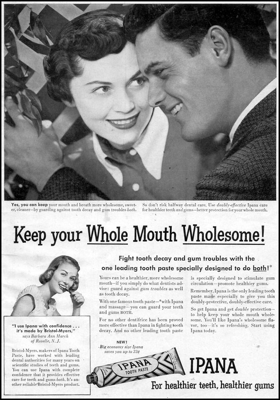 IPANA TOOTHPASTE WOMAN'S DAY 05/01/1950 p. 1
