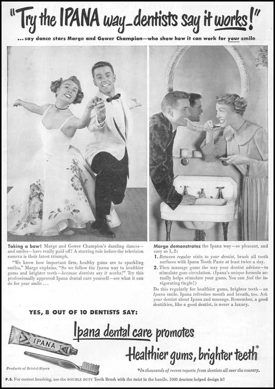 IPANA TOOTHPASTE WOMAN'S DAY 08/01/1949 p. 1
