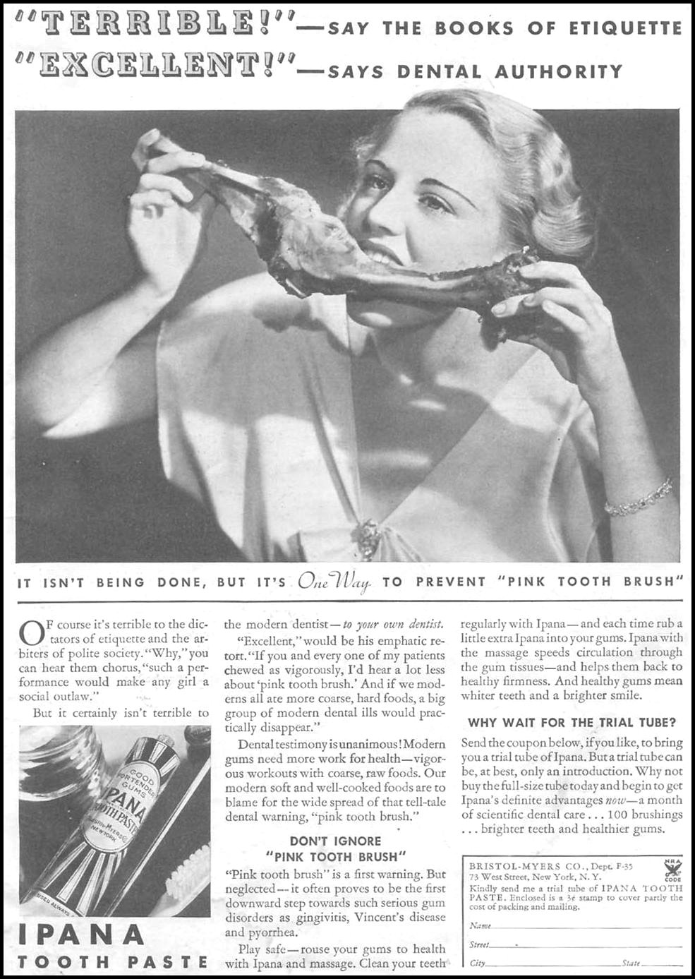 IPANA TOOTHPASTE GOOD HOUSEKEEPING 03/01/1935 p. 1