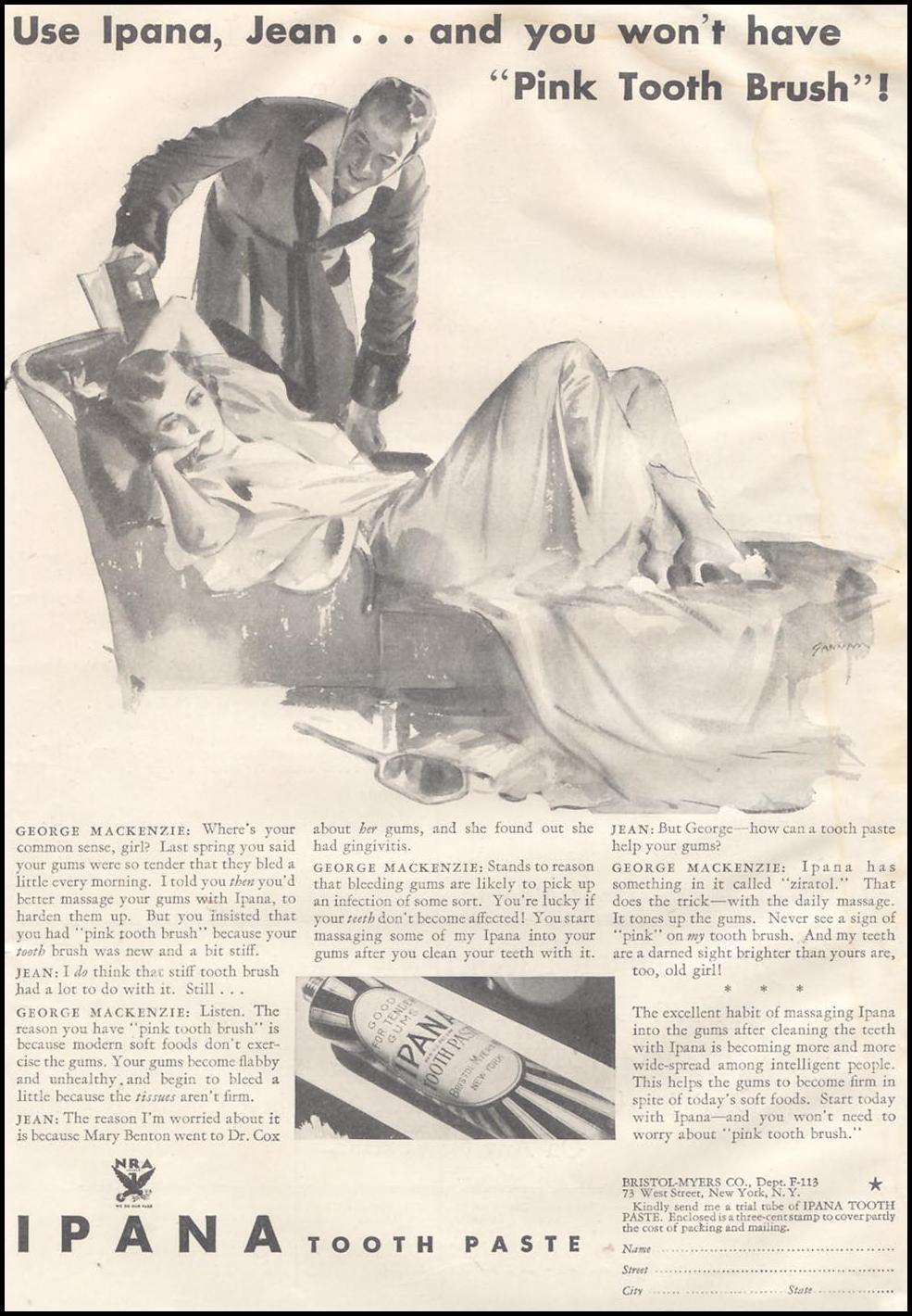 IPANA TOOTHPASTE GOOD HOUSEKEEPING 11/01/1933 p. 1