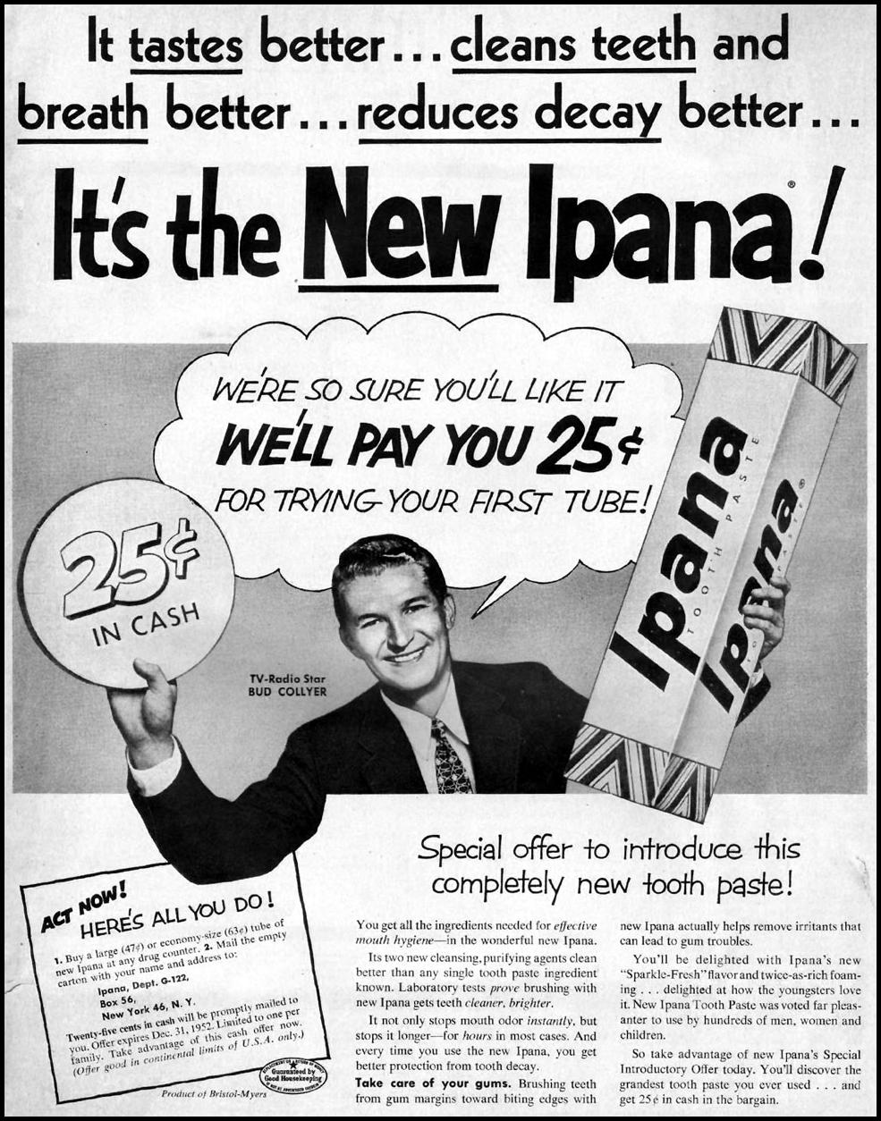 IPANA TOOTHPASTE WOMAN'S HOME COMPANION 12/01/1952 p. 1