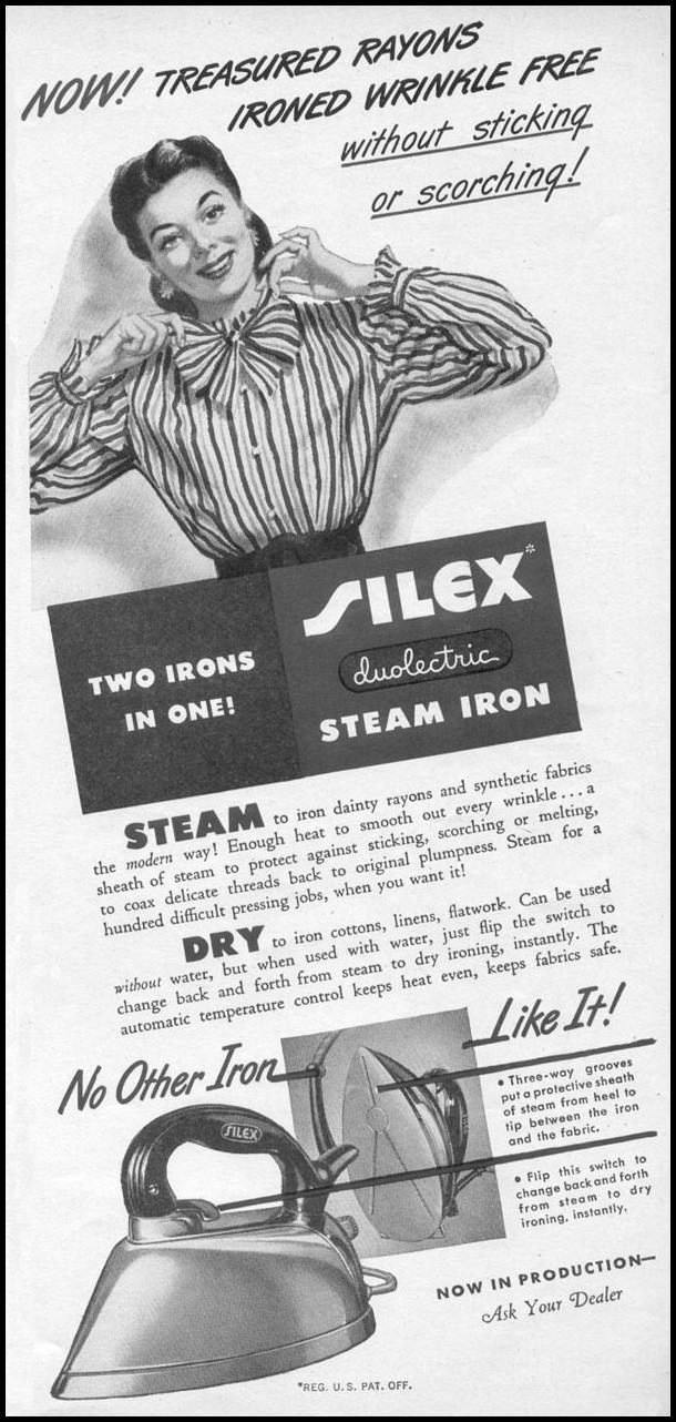 SILEX DUOLECTRIC STEAM IRON WOMAN'S DAY 11/01/1945 p. 75