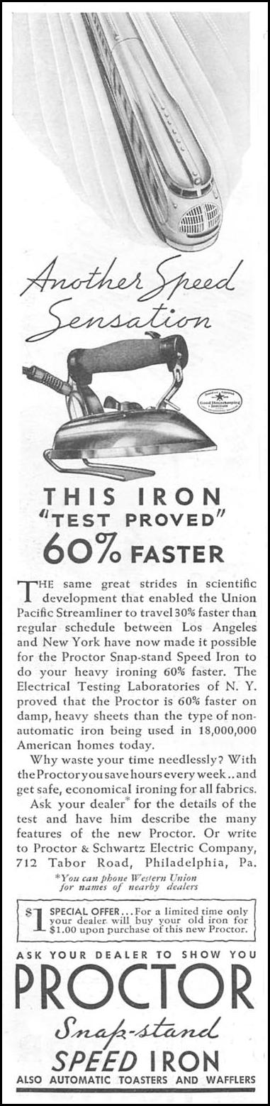 PROCTOR SNAP-STAND SPEED IRON GOOD HOUSEKEEPING 06/01/1935 p. 182