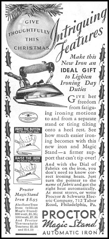 PROCTOR MAGIC STAND AUTOMATIC IRON GOOD HOUSEKEEPING 12/01/1934 p. 200