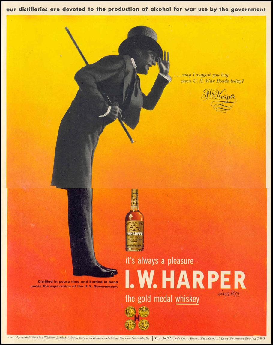 I. W. HARPER KENTUCKY STRAIGHT BOURBON WHISKEY LIFE 02/14/1944 INSIDE BACK