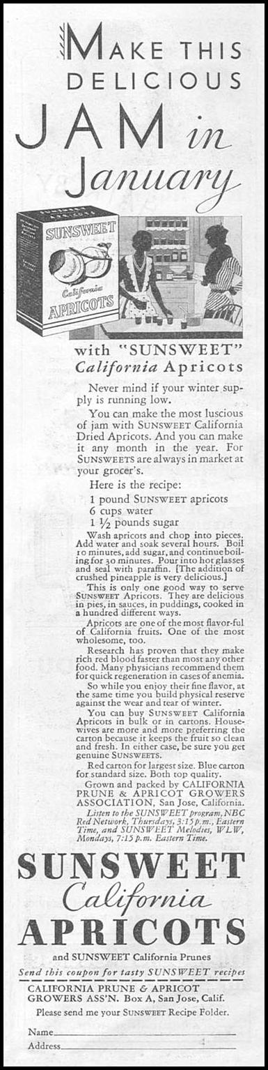 SUNSWEET APRICOTS GOOD HOUSEKEEPING 01/01/1932 p. 163