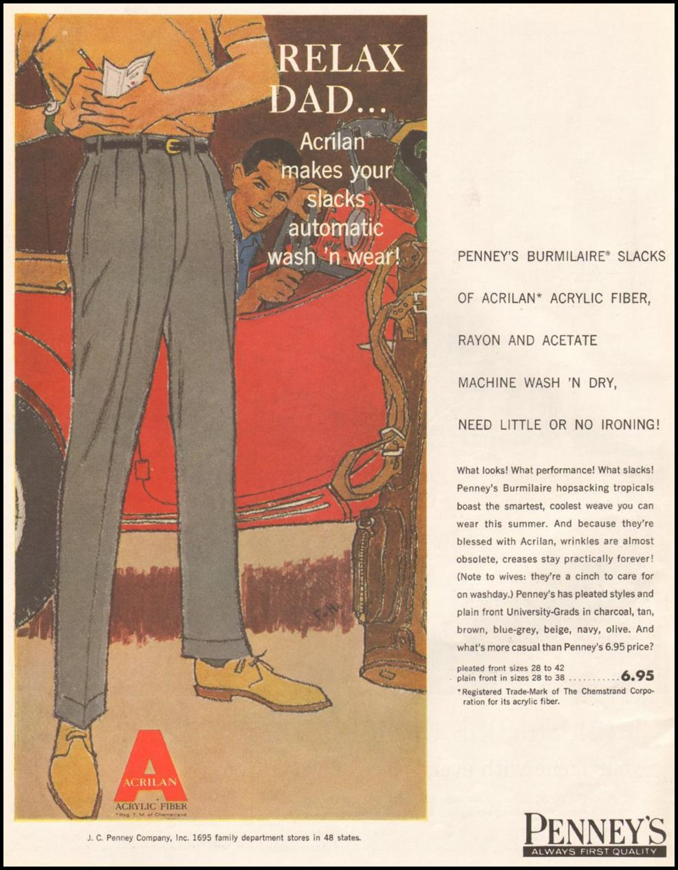 PENNEY'S BURMILAIRE SLACKS SATURDAY EVENING POST 06/11/1960