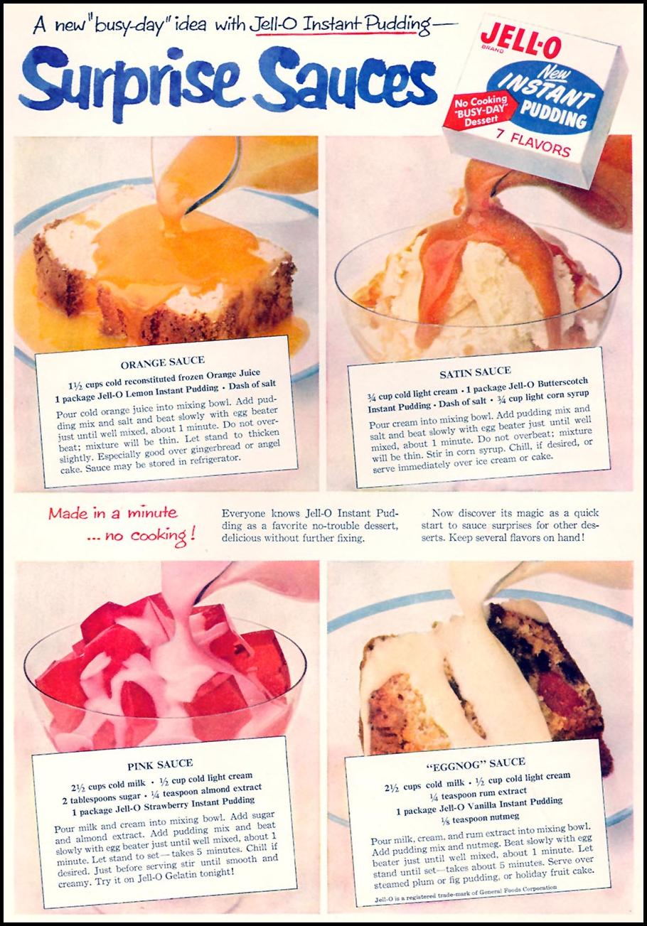 JELL-O INSTANT PUDDING FAMILY CIRCLE 11/01/1957 INSIDE FRONT