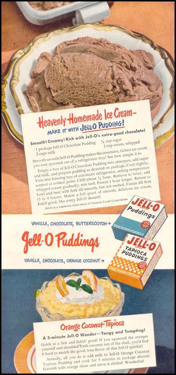JELL-O PUDDING GOOD HOUSEKEEPING 07/01/1949 p. 145