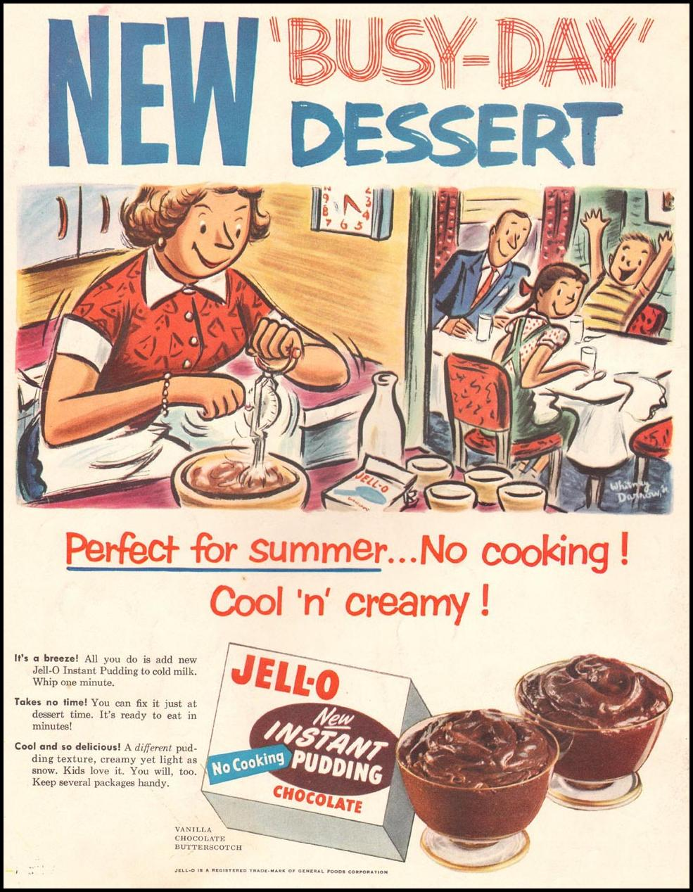 JELL-O INSTANT PUDDING LADIES' HOME JOURNAL 07/01/1954 BACK COVER