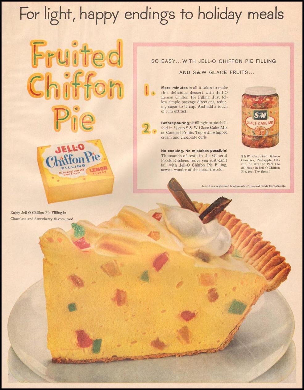 JELL-O CHIFFON PIE FILLING LIFE 11/24/1958