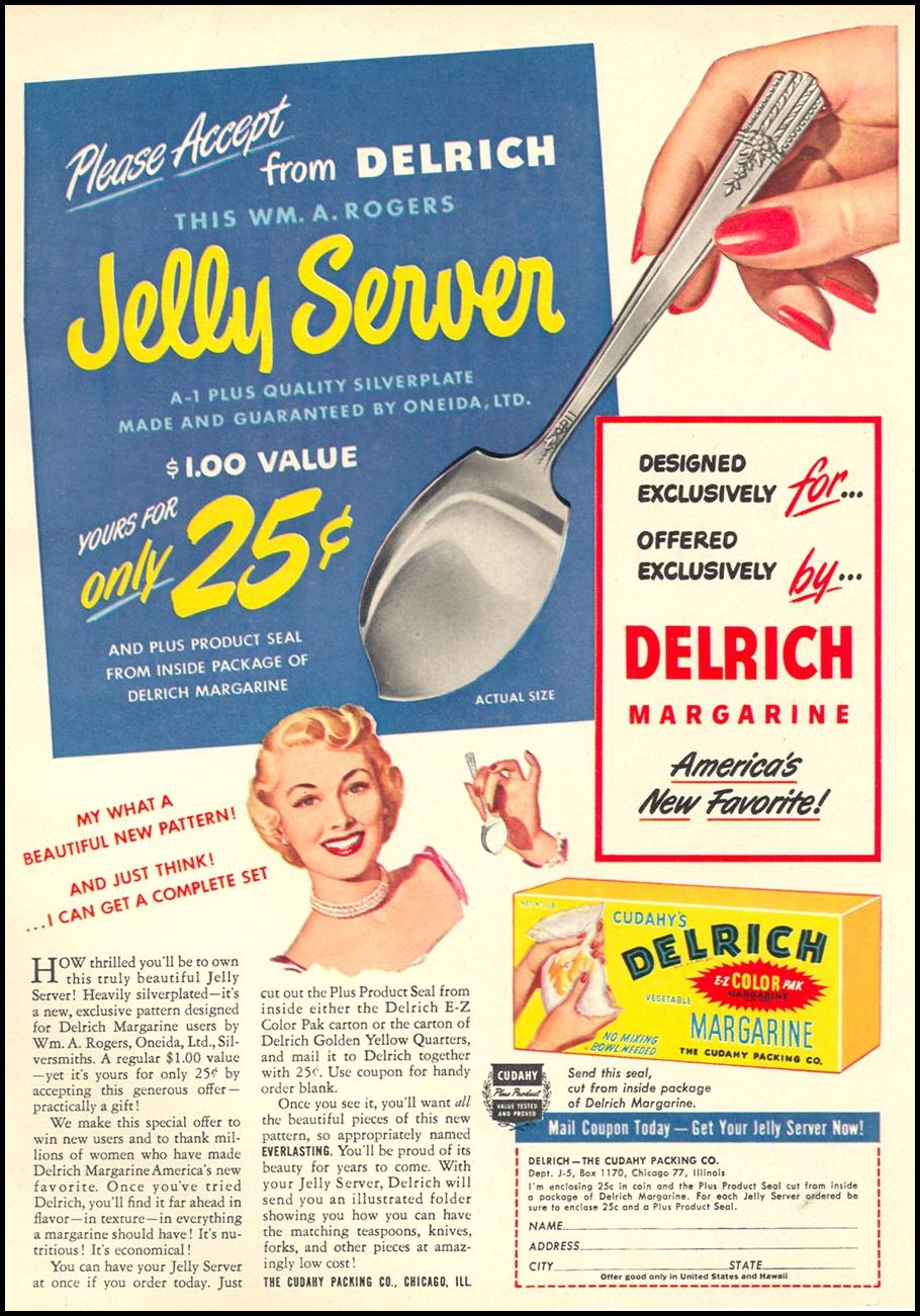 CUDAHY'S DELRICH VEGETABLE MARGARINE WOMAN'S DAY 10/01/1949 p. 29