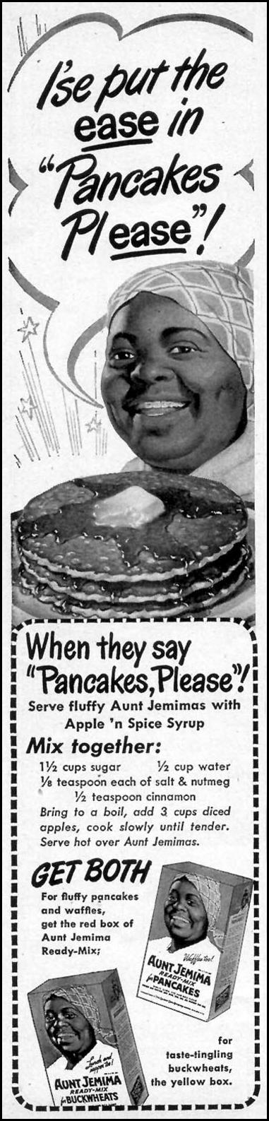 AUNT JEMIMA READY-MIX PANCAKES WOMAN'S DAY 10/01/1948 p. 130
