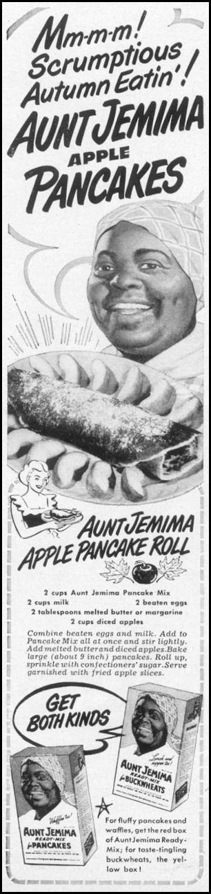 AUNT JEMIMA READY-MIX FOR PANCAKES WOMAN'S DAY 10/01/1949 p. 106