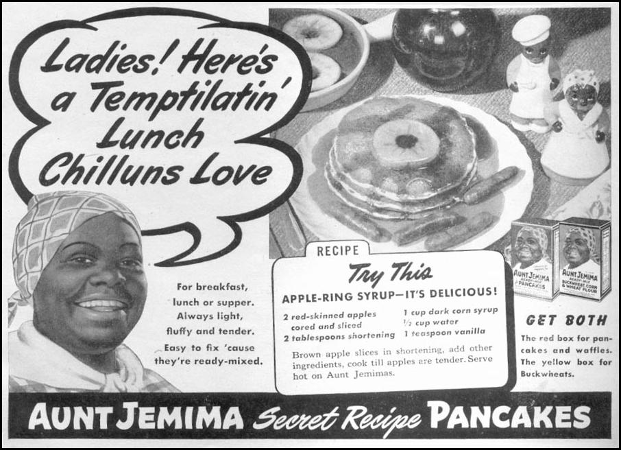AUNT JEMIMA READY-MIX FOR PANCAKES WOMAN'S DAY 11/01/1945 p. 83