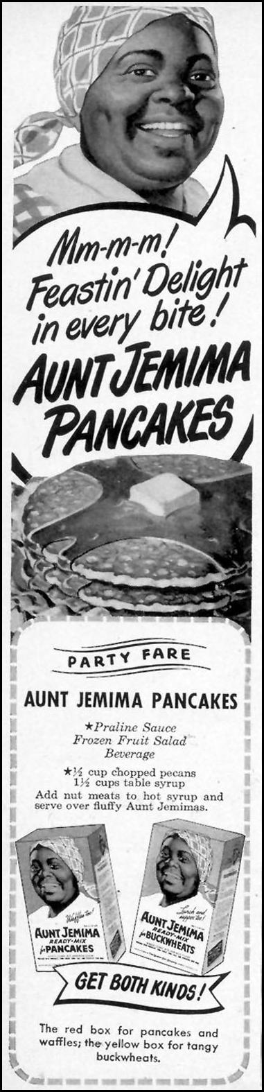 AUNT JEMIMA READY-MIX FOR PANCAKES WOMAN'S DAY 11/01/1948 p. 76