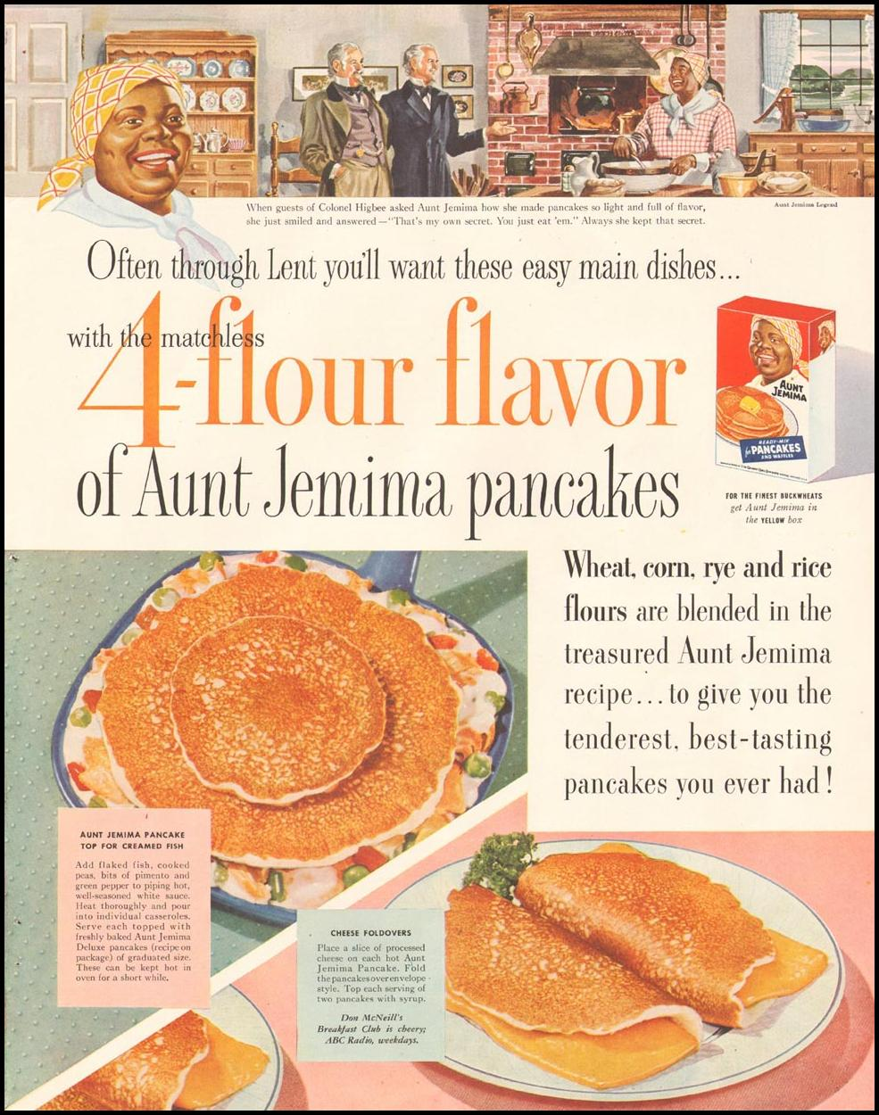 AUNT JEMIMA PANCAKES LADIES' HOME JOURNAL 03/01/1954 p. 107