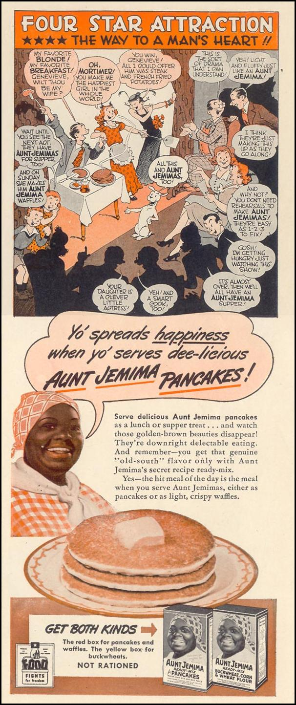 AUNT JEMIMA READY-MIX FOR PANCAKES LIFE 02/21/1944 p. 127