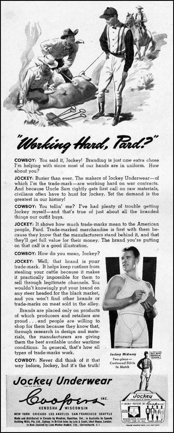 JOCKEY BRAND UNDERWEAR LIFE 03/12/1945 p. 54