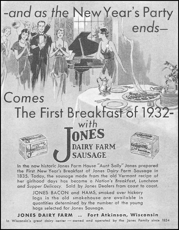 JONES DAIRY FARM SAUSAGE GOOD HOUSEKEEPING 01/01/1932 p. 175