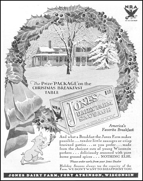 JONES DAIRY FARM SAUSAGE GOOD HOUSEKEEPING 12/01/1933 p. 171