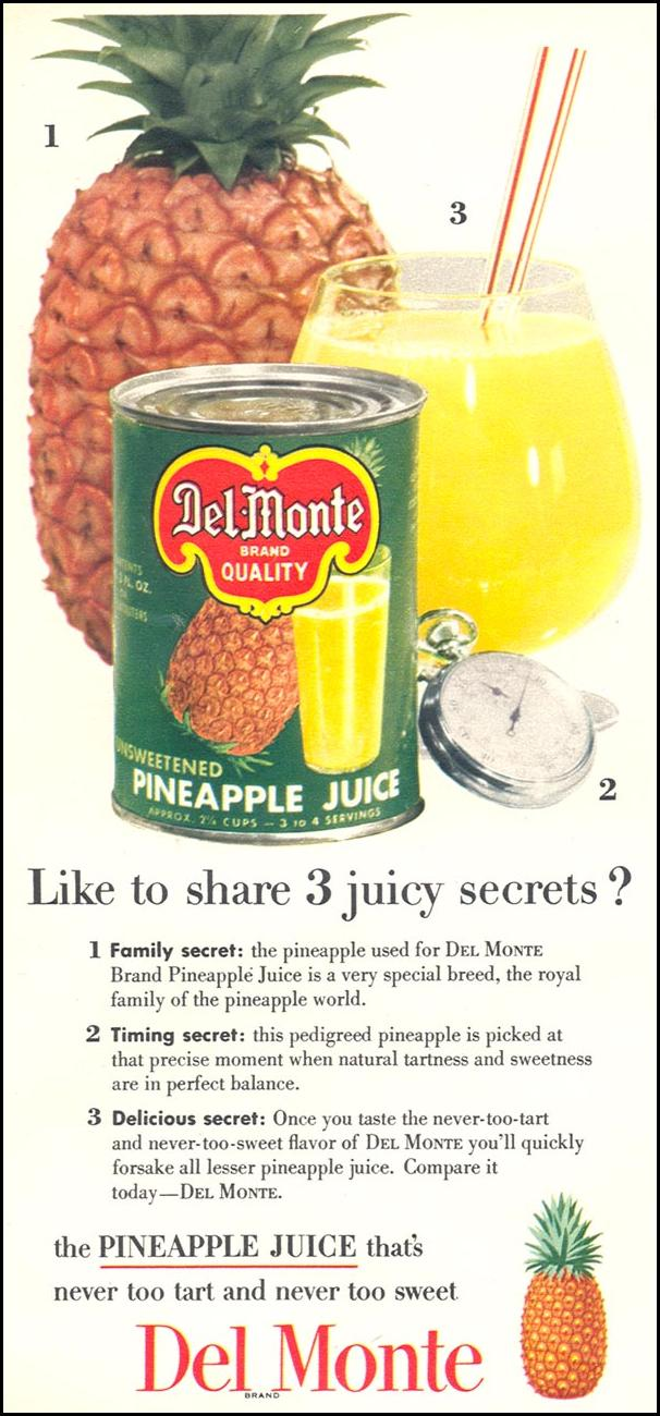 DEL MONTE PINEAPPLE JUICE WOMAN'S DAY 02/01/1954 p. 118