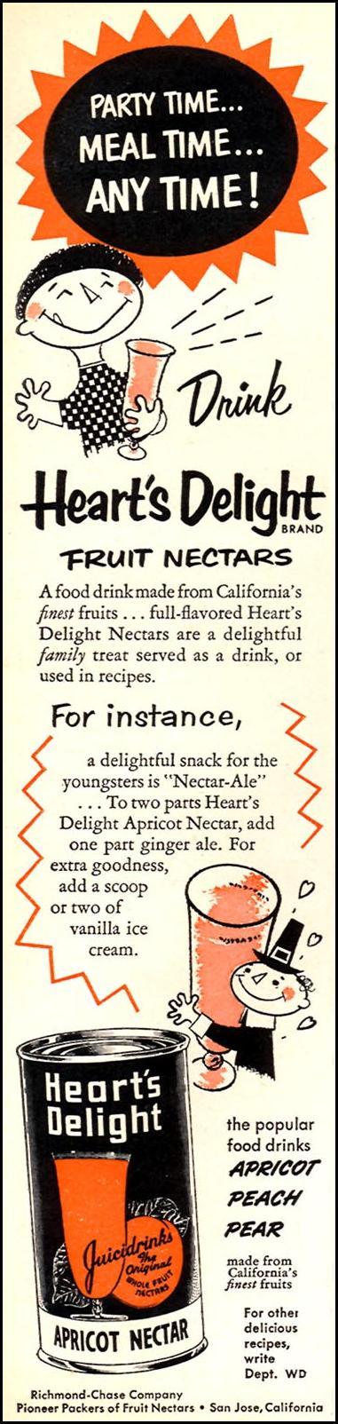 HEART'S DELIGHT FRUIT NECTARS WOMAN'S DAY 02/01/1954 p. 140