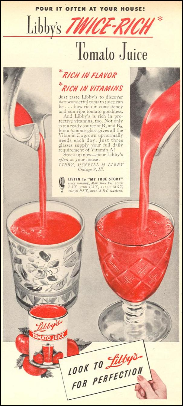 LIBBY'S TWICE-RICH TOMATO JUICE WOMAN'S DAY 06/01/1946 p. 85