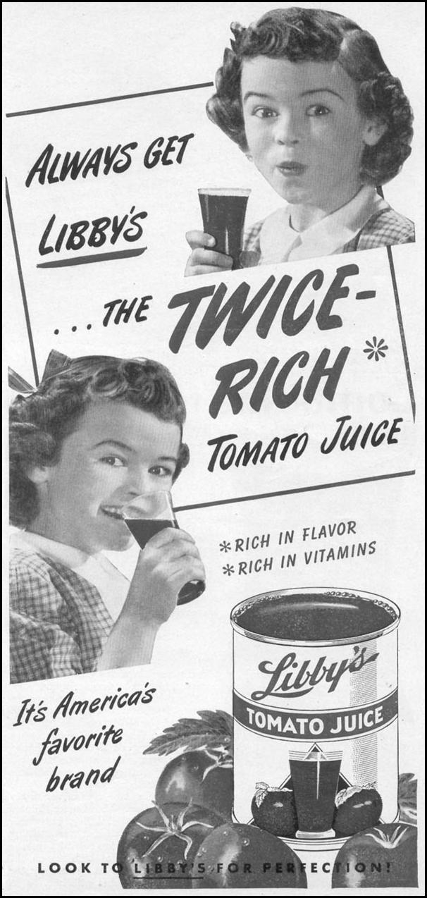 LIBBY'S TOMATO JUICE WOMAN'S DAY 12/01/1948 p. 75