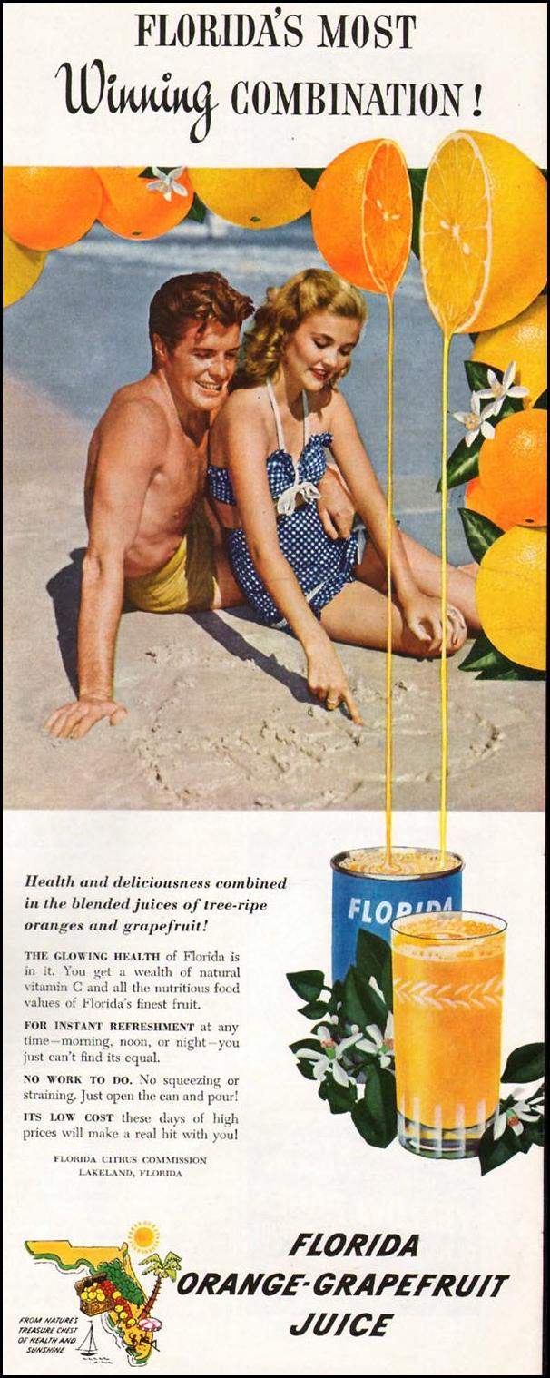 FLORIDA ORANGE-GRAPEFRUIT JUICE LADIES' HOME JOURNAL 07/01/1949 p. 117