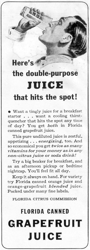FLORIDA CANNED GRAPEFRUIT JUICE LIFE 06/23/1941 p. 44