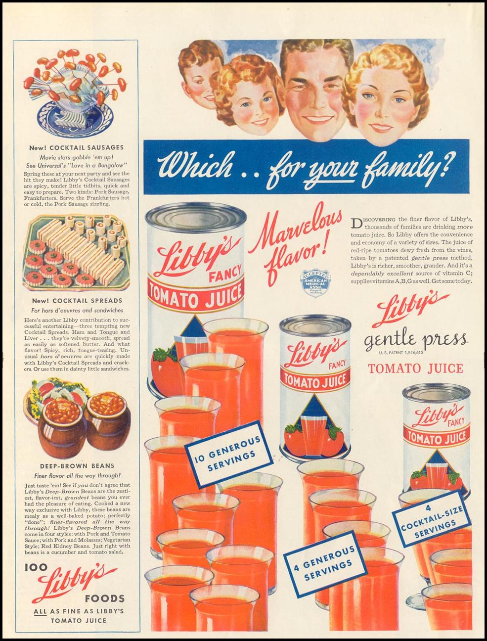 LIBBY'S GENTLE PRESS TOMATO JUICE LIFE 07/26/1937