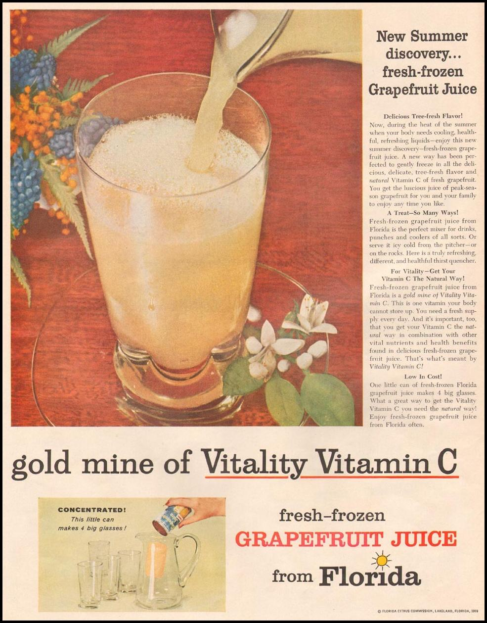 FLORIDA FRESH-FROZEN GRAPEFRUIT JUICE LIFE 08/10/1959