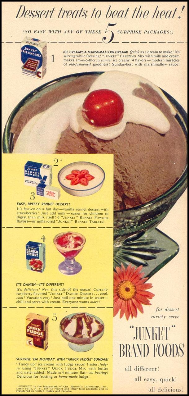 JUNKET BRAND FOODS WOMAN'S DAY 07/01/1949 p. 20
