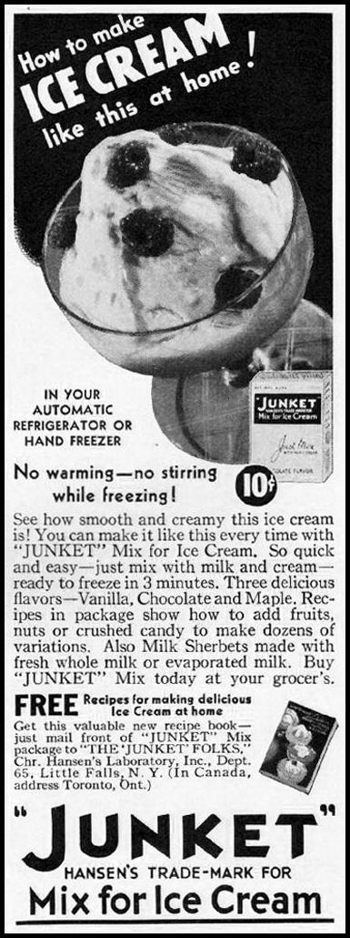 JUNKET MIX FOR ICE CREAM BETTER HOMES AND GARDENS 05/01/1936 p. 96