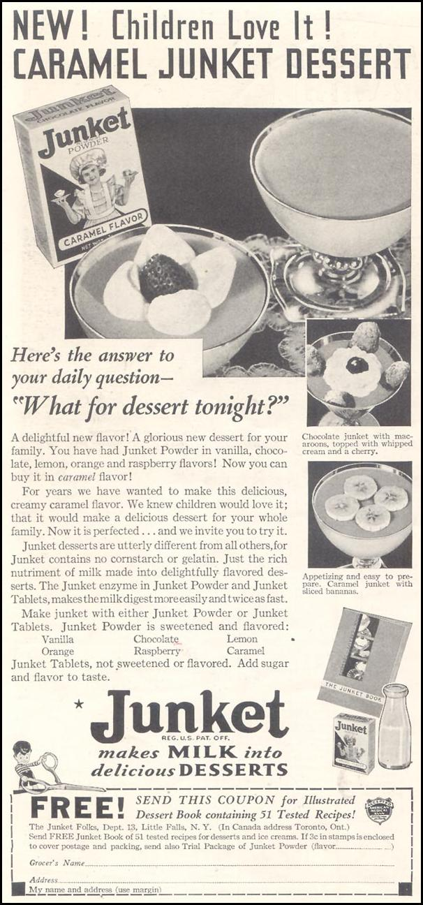 JUNKET RENNET-CUSTARD POWDER GOOD HOUSEKEEPING 03/01/1935 p. 168