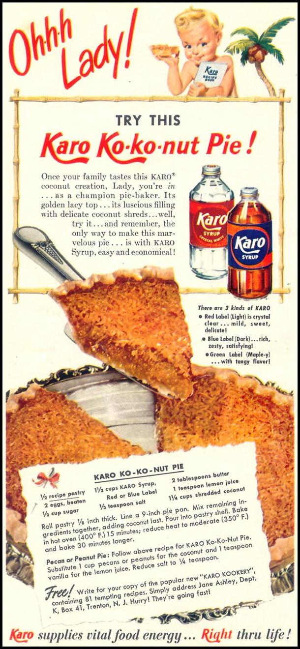 KARO SYRUP WOMAN'S DAY 05/01/1950 p. 28
